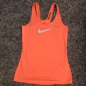 Bright Orange Nike pro athletic tank top small
